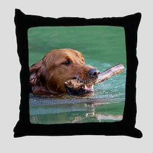 Happy Retriever Dog Throw Pillow