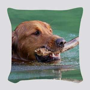 Happy Retriever Dog Woven Throw Pillow