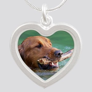 Happy Retriever Dog Silver Heart Necklace