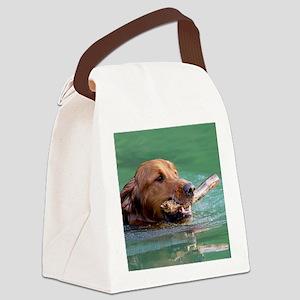 Happy Retriever Dog Canvas Lunch Bag
