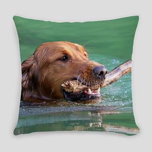 Happy Retriever Dog Everyday Pillow