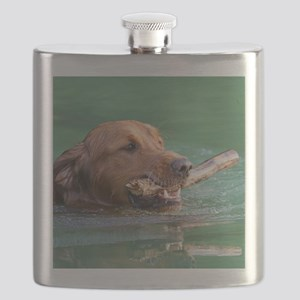 Happy Retriever Dog Flask
