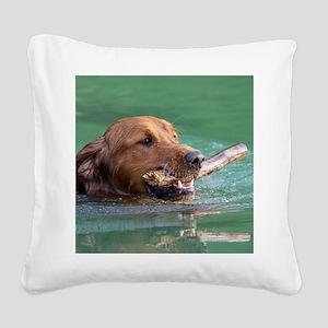 Happy Retriever Dog Square Canvas Pillow