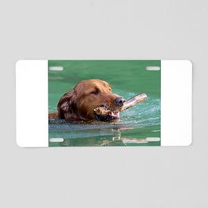 Happy Retriever Dog Aluminum License Plate