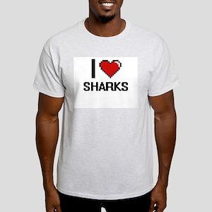 I Love Sharks Digital Design T-Shirt