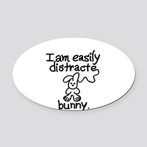 Easily Distracted Oval Car Magnet