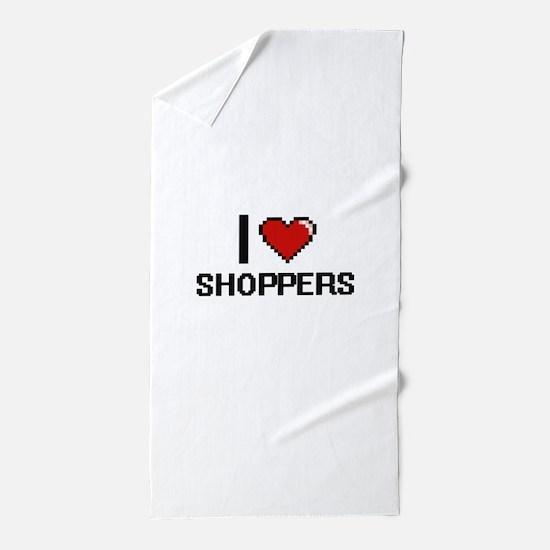 I Love Shoppers Digital Design Beach Towel