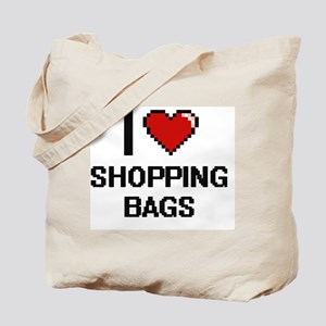 I Love Shopping Bags Digital Design Tote Bag