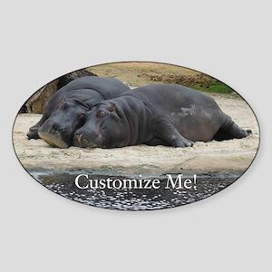 Hippo Love and Snuggles Customizable Sticker
