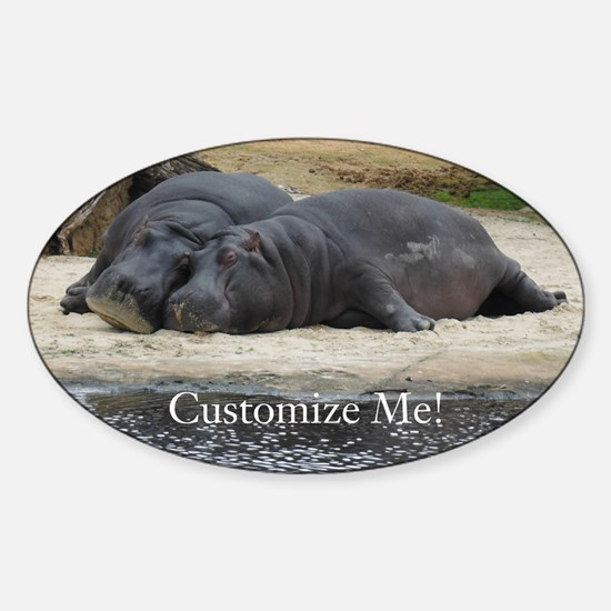 Hippo Love and Snuggles Customizable Decal