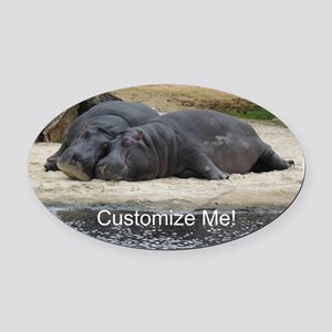 Hippo Love and Snuggles Customizable Oval Car Magn