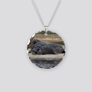 Hippos in Love Personalized Necklace Circle Charm