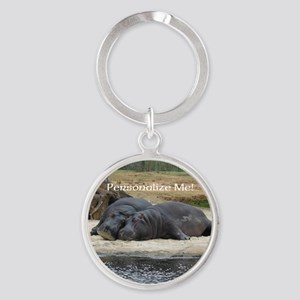 Hippos in Love Personalized Photo Round Keychain