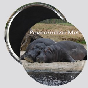 Hippos in Love Personalized Photo Magnet