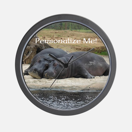 Hippos in Love Personalized Photo Wall Clock