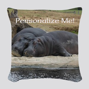Hippos in Love Personalized Ph Woven Throw Pillow