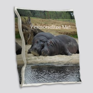 Hippos in Love Personalized Ph Burlap Throw Pillow