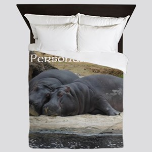 Hippos in Love Personalized Photo Queen Duvet