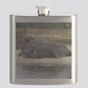 Hippos in Love Personalized Photo Flask