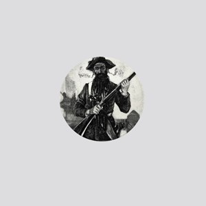 Blackbeard at attention with rifle Mini Button