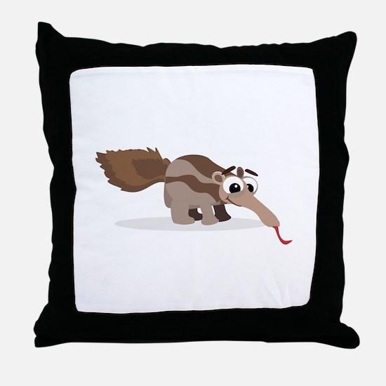 Anteater Cartoon Throw Pillow