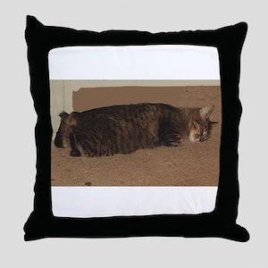 manx sleeping Throw Pillow