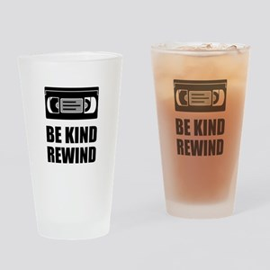 VHS Cassette Tape Be Kind Rewind Drinking Glass
