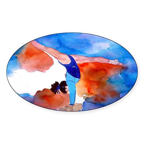 Balance Beam Gymnastics Oval Sticker