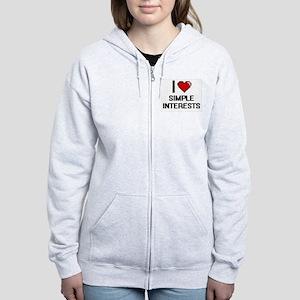 I Love Simple Interests Digital Women's Zip Hoodie