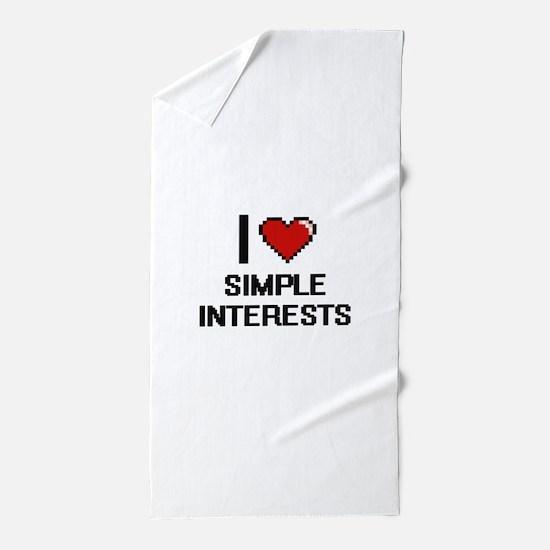 I Love Simple Interests Digital Design Beach Towel