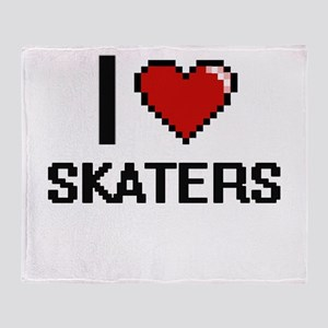 I Love Skaters Digital Design Throw Blanket
