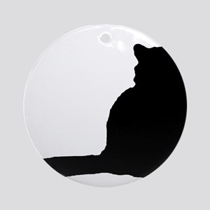 Norwegian forest cat silhouette Round Ornament