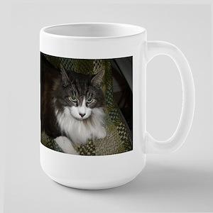 norwegian forest cat brown tabby white laying Mugs