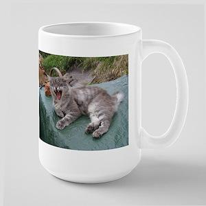 norwegian forest cat grey tabby yawning Mugs
