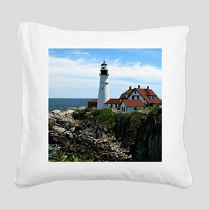 Portland, Maine Lighthouse Square Canvas Pillow