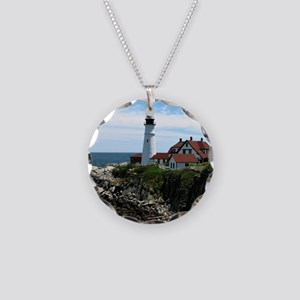 Portland, Maine Lighthouse Necklace Circle Charm