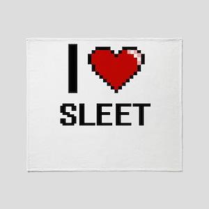 I love Sleet Digital Design Throw Blanket