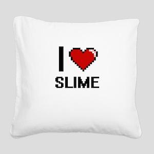I love Slime Digital Design Square Canvas Pillow