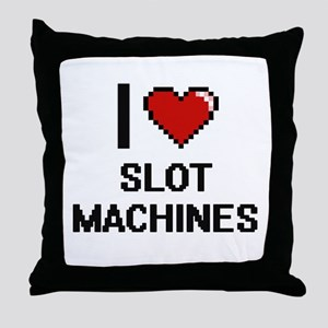 I love Slot Machines Digital Design Throw Pillow