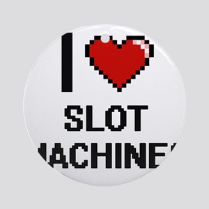 I love Slot Machines Digital Design Round Ornament