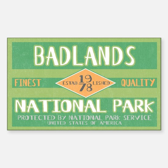 Badlands National Park (Retro) Sticker (Rectangula