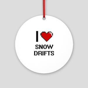 I love Snow Drifts Digital Design Round Ornament