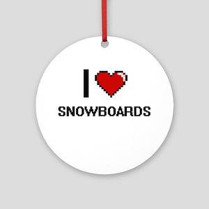 I love Snowboards Digital Design Round Ornament