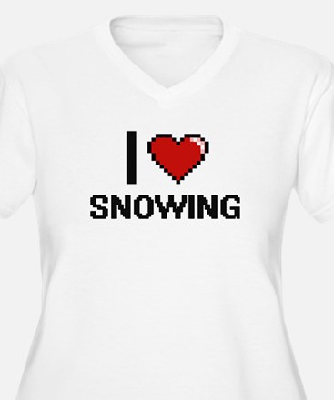 I love Snowing Digital Design Plus Size T-Shirt