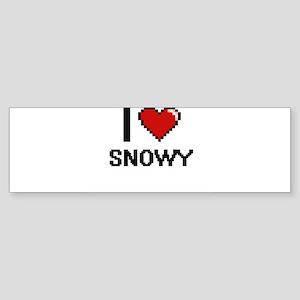 I love Snowy Digital Design Bumper Sticker