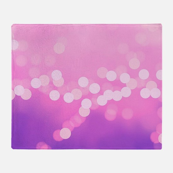 Girly Pink Purple Dots Throw Blanket