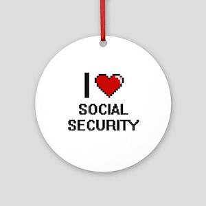 I love Social Security Digital Desi Round Ornament