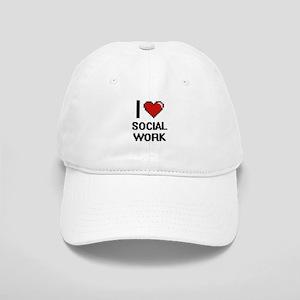 I love Social Work Digital Design Cap