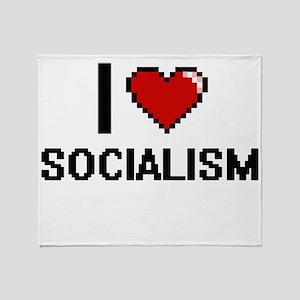 I love Socialism Digital Design Throw Blanket