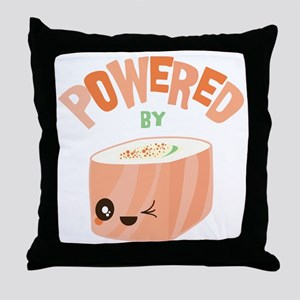 Powered by Salmon Sushi Throw Pillow